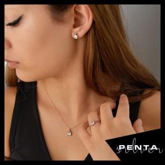 Penta Silver - Kare Taşlı Elmas Montür Gümüş Takı Seti