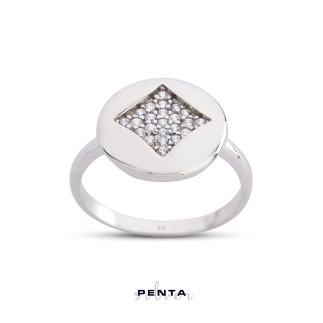 Penta Silver - Karo Pırlanta Montür Gümüş Yüzük (1)