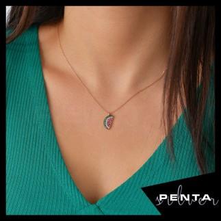 Penta Silver - Karpuz Gümüş Kolye (1)