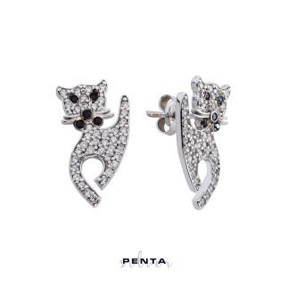 Penta Silver - Kedi Gümüş Küpe