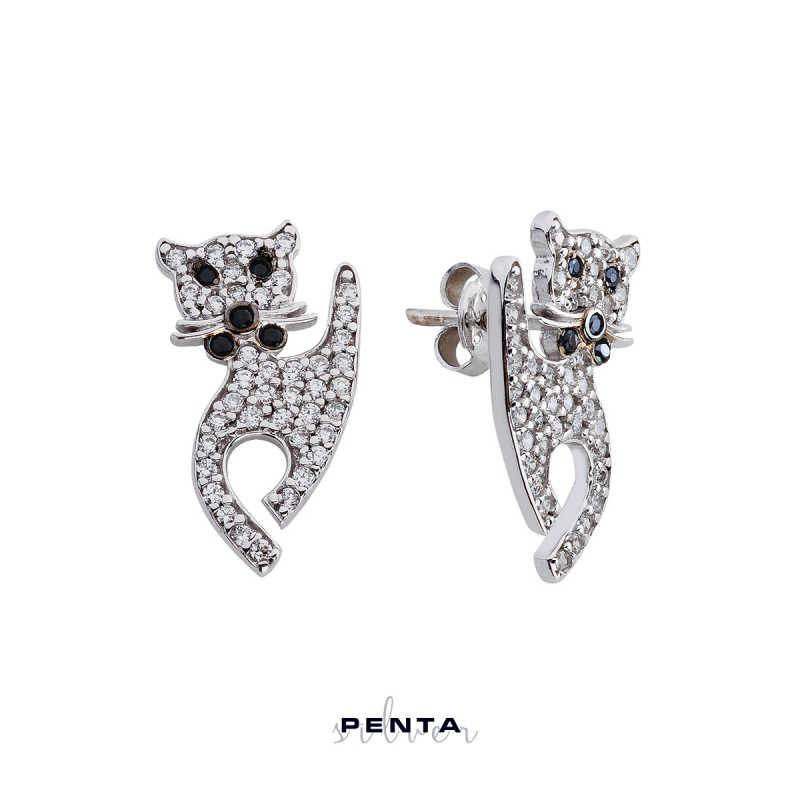 Kedi Gümüş Küpe