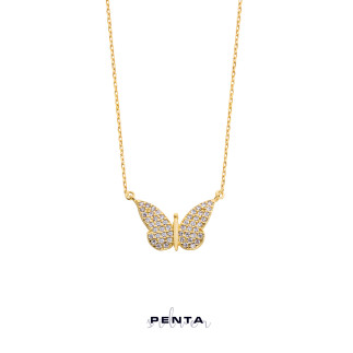 Kelebek Gümüş Kolye - Thumbnail