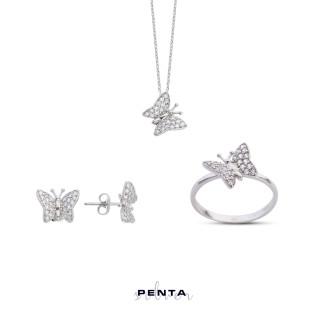 Penta Silver - Kelebek Gümüş Takı Seti