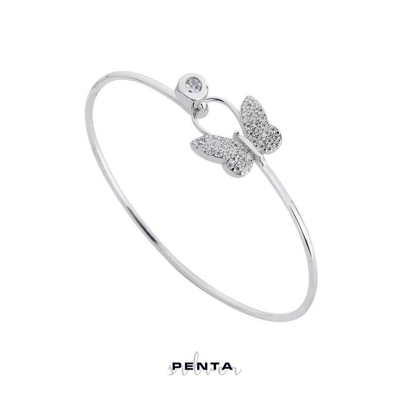 Kelebek Kelepçe Gümüş Bileklik