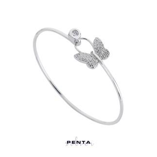 Penta Silver - Kelebek Kelepçe Gümüş Bileklik