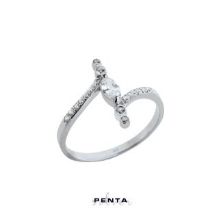 Penta Silver - Kesişim Markiz Stil Gümüş Yüzük