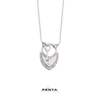 Penta Silver - Kilit Anahtar Gümüş Kolye (1)