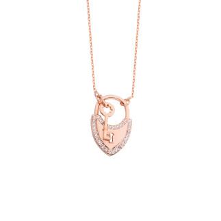 Kilit Anahtar Gümüş Kolye - Thumbnail