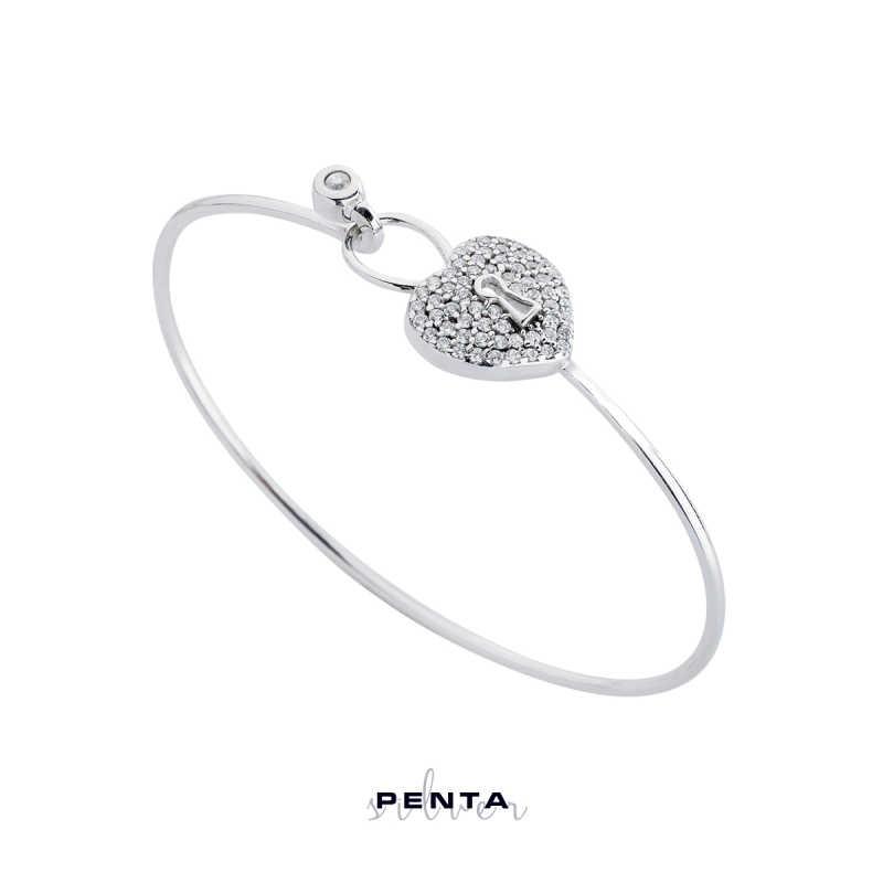 Kilitli Kalp Kelepçe Gümüş Bileklik