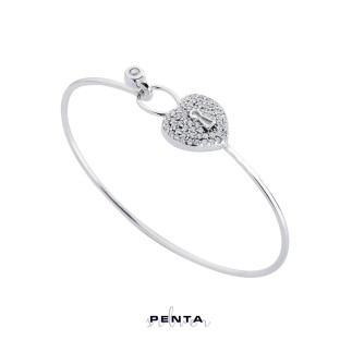 Penta Silver - Kilitli Kalp Kelepçe Gümüş Bileklik