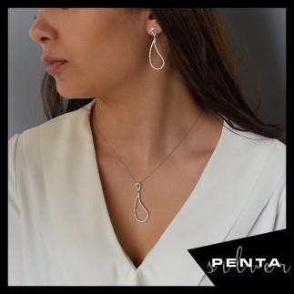 Penta Silver - Kıvrımlı Damla Gümüş Takı Seti