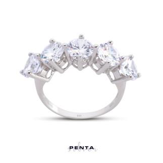 Penta Silver - Kral Tacı Büyük Boy Beştaş Gümüş Yüzük