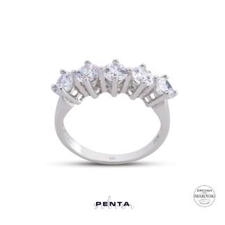 Penta Silver - Kral Tacı Swarovski Küçük Boy Beştaş Gümüş Yüzük