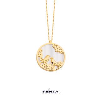 Penta Silver - Kumrular Sedefli Kuşlu Gümüş Kolye (1)