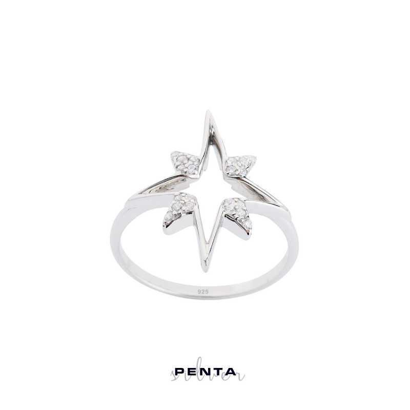 Kutup Yıldızı Figürlü Gümüş Yüzük