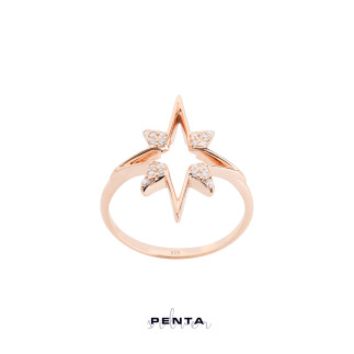 Kutup Yıldızı Figürlü Gümüş Yüzük - Thumbnail