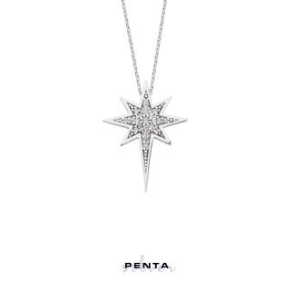 Penta Silver - Kutup Yıldızı Gümüş Kolye Zirkon Taşlı (1)