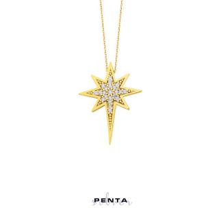 Kutup Yıldızı Gümüş Kolye Zirkon Taşlı - Thumbnail