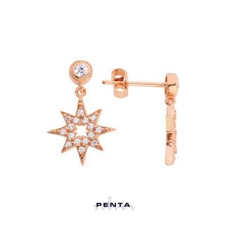 Kutup Yıldızı Gümüş Küpe - Thumbnail
