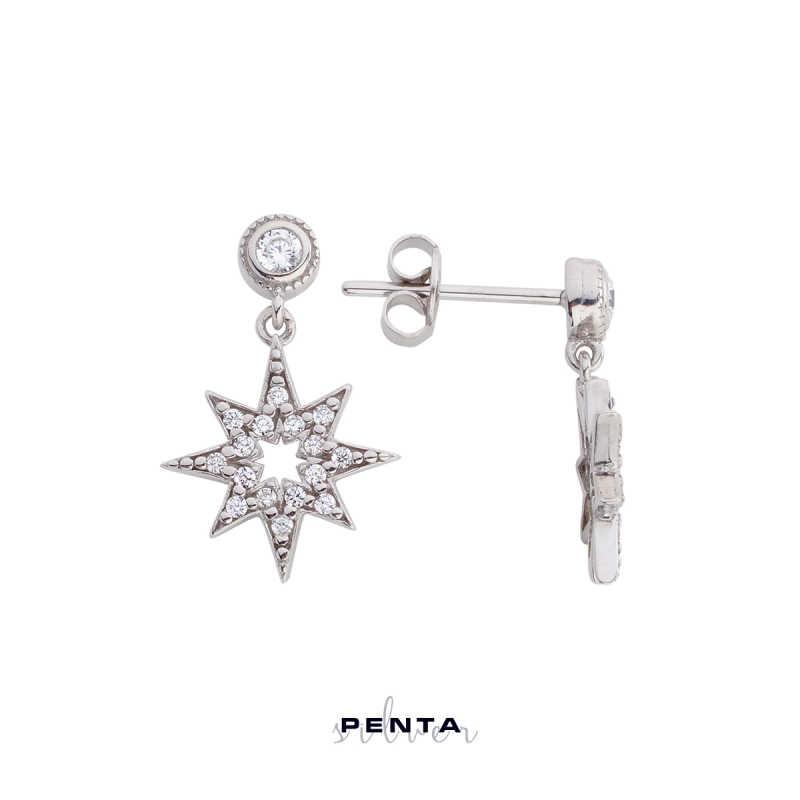 Kutup Yıldızı Gümüş Küpe