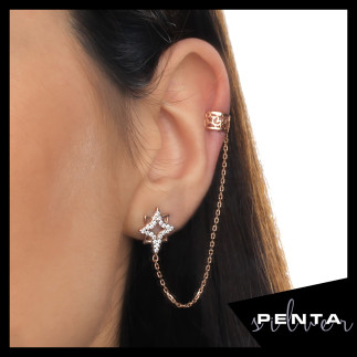 Penta Silver - Kutup Yıldızı Kıkırdak Gümüş Küpe