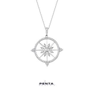 Penta Silver - Kutup Yıldızı Pusula Gümüş Kolye