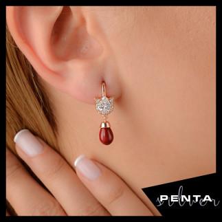 Penta Silver - Lale Motif Drop Gümüş Küpe (1)