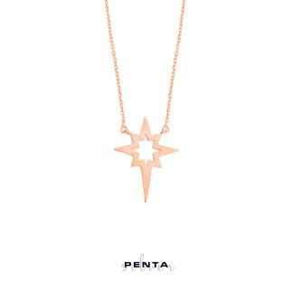 Levha Kutup Yıldızı Gümüş Kolye - Thumbnail