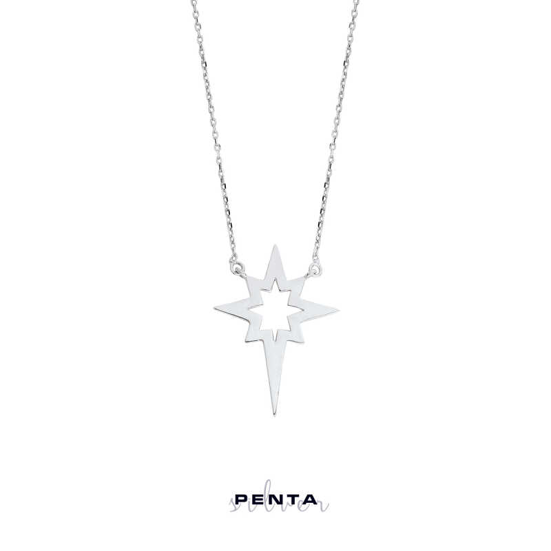 Levha Kutup Yıldızı Gümüş Kolye