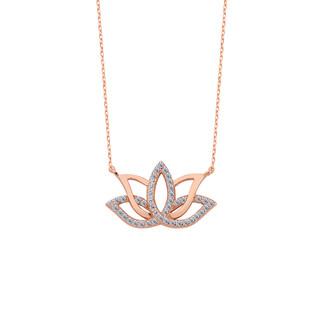 Lotus Çiçeği Gümüş Kolye - Thumbnail