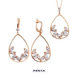 Penta Silver - Markiz Damla Gümüş Takı Seti