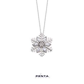 Penta Silver - Markiz Kar Tanesi Gümüş Kolye (1)