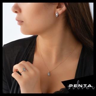 Penta Silver - Markiz Pırlanta Montür Gümüş Takı Seti