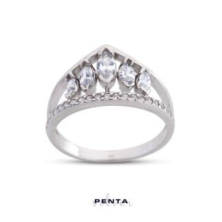 Penta Silver - Markiz Prenses Tacı Gümüş Yüzük