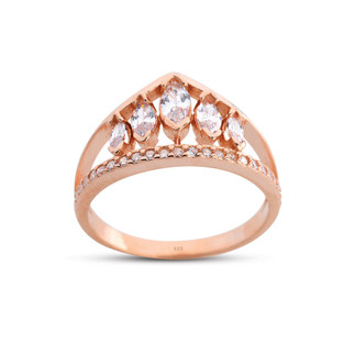 Markiz Prenses Tacı Gümüş Yüzük - Thumbnail