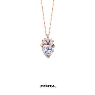 Penta Silver - Markiz Taşlı Kalp Gümüş Kolye