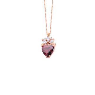 Markiz Taşlı Kalp Gümüş Kolye - Thumbnail