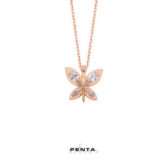 Penta Silver - Markiz Taşlı Kelebek Gümüş Kolye