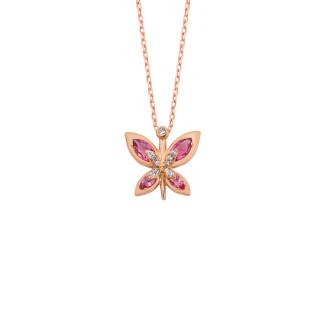 Markiz Taşlı Kelebek Gümüş Kolye - Thumbnail