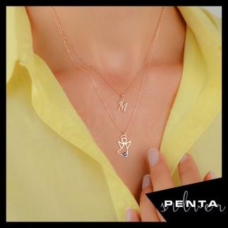 Penta Silver - Melek Çift Zincir Harfli Gümüş Kolye
