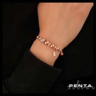 Penta Silver - Melek Figürlü Mineli Gümüş Bileklik