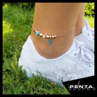 Penta Silver - Melek Figürlü Mineli Gümüş Halhal (1)