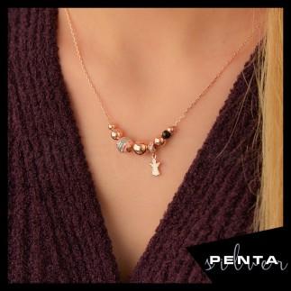 Penta Silver - Melek Figürlü Mineli Gümüş Kolye
