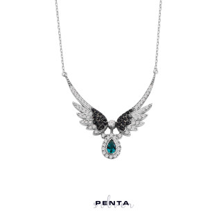 Penta Silver - Melek Kanadı Damla Taşlı Gümüş Kolye