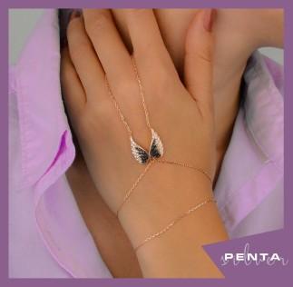 Penta Silver - Melek Kanadı Gümüş Şahmeran Bileklik