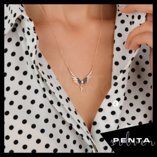 Penta Silver - Melek Kanadı Harfli Gümüş Kolye