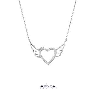 Penta Silver - Melek Kanadı Kalpli Sıra Taş Gümüş Kolye