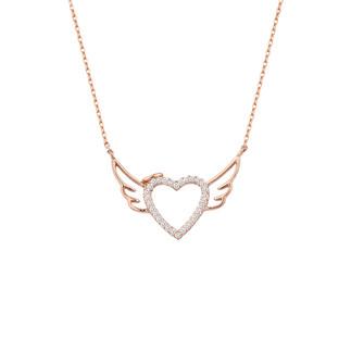 Melek Kanadı Kalpli Sıra Taş Gümüş Kolye - Thumbnail