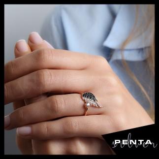 Penta Silver - Melek Kanadı Rose Gümüş Yüzük