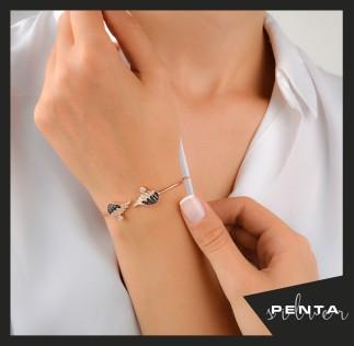 Penta Silver - Melek Kanadı Zirkon Taşlı Kelepçe Gümüş Bileklik